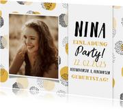 Einladung 14. Geburtstag mit Foto und Punkten