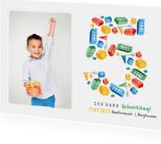 Einladung 5. Geburtstag eigenes Foto und Bausteine