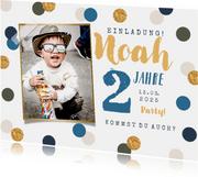 Einladung Kindergeburtstag blaue Konfetti und Foto