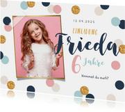 Einladung Kindergeburtstag Konfetti und Foto Mädchen