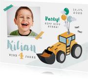 Einladung Kindergeburtstag mit Bagger, Foto und Luftballons