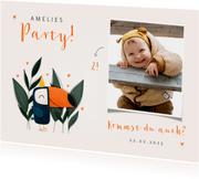 Einladung Kindergeburtstag niedlicher Tukan & Foto