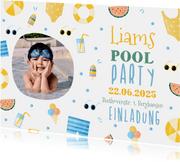 Einladung Kindergeburtstag Pool Party Junge rundes Foto