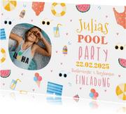 Einladung Kindergeburtstag Pool Party Mädchen rundes Foto