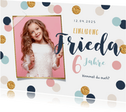 Einladung Kindergeburtstag rosa Konfetti und Foto