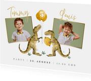 Einladung Kindergeburtstag Zwillinge eigene Fotos und Dinos