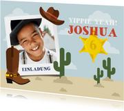 Einladung zum Kindergeburtstag Cowboy mit Foto