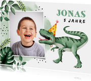 Einladung zum Kindergeburtstag mit Dinosaurier und Foto