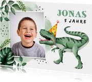Einladung zum Kindergeburtstag mit Foto und Dinosaurier