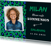 Einladung zur Kommunion Foto Pantherprint blaugrün
