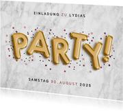 Einladung zur Party Marmor und goldene Folienballons