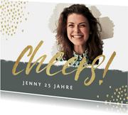 Einladungskarte 'Cheers' mit Foto und Herzen