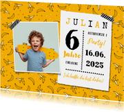 Einladungskarte Kindergeburtstag Bananen mit Fotos
