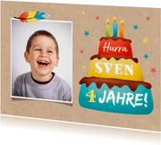 Einladungskarte Kindergeburtstag Torte und Foto