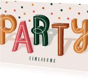 Einladungskarte Party & Konfetti