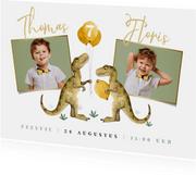 Feestje dinosaurus tweeling ballonnen foto's uitnodiging
