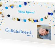Felicitatie kaart jongen slingers blauw