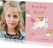 Felicitatie kaartje eerste communie eenhoorns en regenbogen
