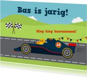 Verjaardagskaarten - Felicitatiekaart met blauwe Formule 1 raceauto op circuit