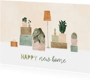 Felicitatiekaart met plantjes en verhuisdozen happy new home