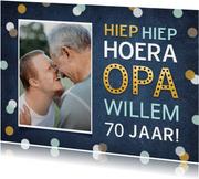 Felicitatiekaart verjaardag opa met foto en confetti