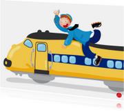 Felicitatiekaart voor een jongen met een trein erop