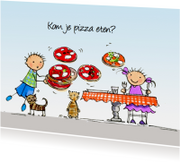 Flip en Anke pizza Anet Illustraties