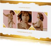 Fotokaart collage met gouden verf stijlvol