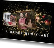 Fotokaart fotocollage met gouden confetti