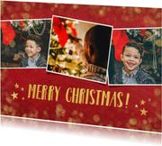 fotokaart kerst collage met goud en 3 eigen foto's