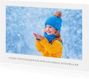 Fotokaart kerst wit met 1 grote foto en aanpasbare tekst