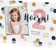 Fotokaart verjaardag kind meisje confetti goud vrolijk