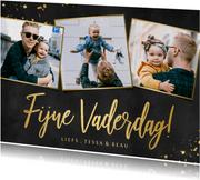 Fotokaart zwart en goud voor vaderdag met 3 eigen foto's