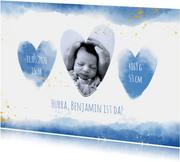 Geburtskarte mit Herzen