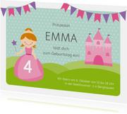 Geburtstagseinladung mit Prinzessin und Schloss