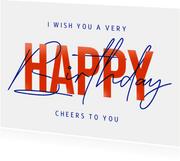 Geburtstagskarte Typografie 'Happy Birthday'