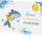 Geslaagd kaarten - Geslaagd afzwemmen haai met band en bal