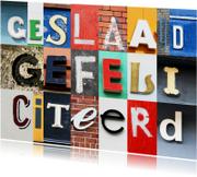 Geslaagd gefeliciteerd letters