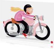 Geslaagd motor rijbewijs vrouw Motormeisje