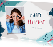Glückwunschkarte Geburtstag Wasserfarbe und Foto