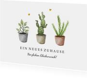 Glückwunschkarte Neues Zuhause Zimmerpflanzen