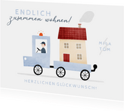Glückwunschkarte Umzug Haus auf Lastwagen