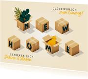 Glückwunschkarte Umzugskartons New Home