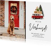 Grappige kerst verhuiskaart met Volkswagen busje en foto
