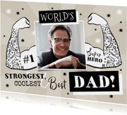 Grappige vaderdagkaart met foto en getatoeëerde armen