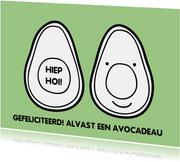 Grappige verjaardagskaart met avocado