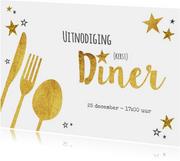 Kerstkaarten - Hippe uitnodiging (kerst) diner goud sterren en bestek