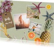 Hippe vakantiekaart met collage van vakantiefoto's.