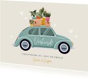 Hippe verhuiskaart met kever verhuisauto, plantjes & hartjes
