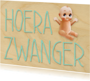 Felicitatiekaarten - Hoera zwanger retro popje